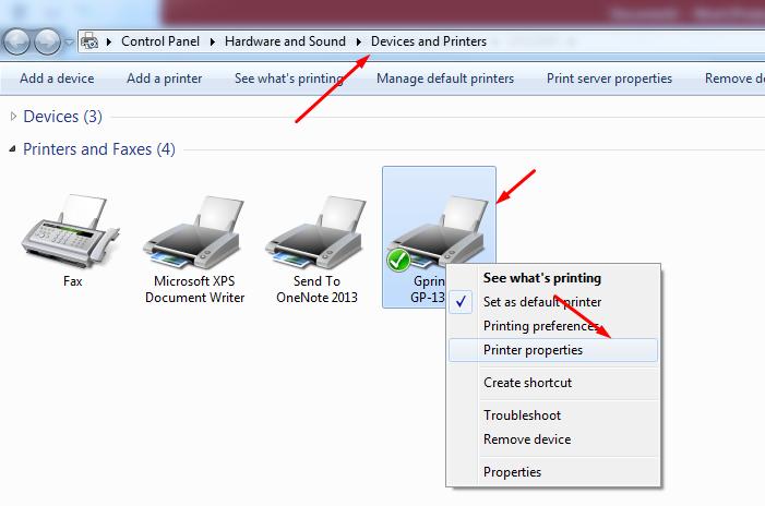 check port máy in gprinter 1324d