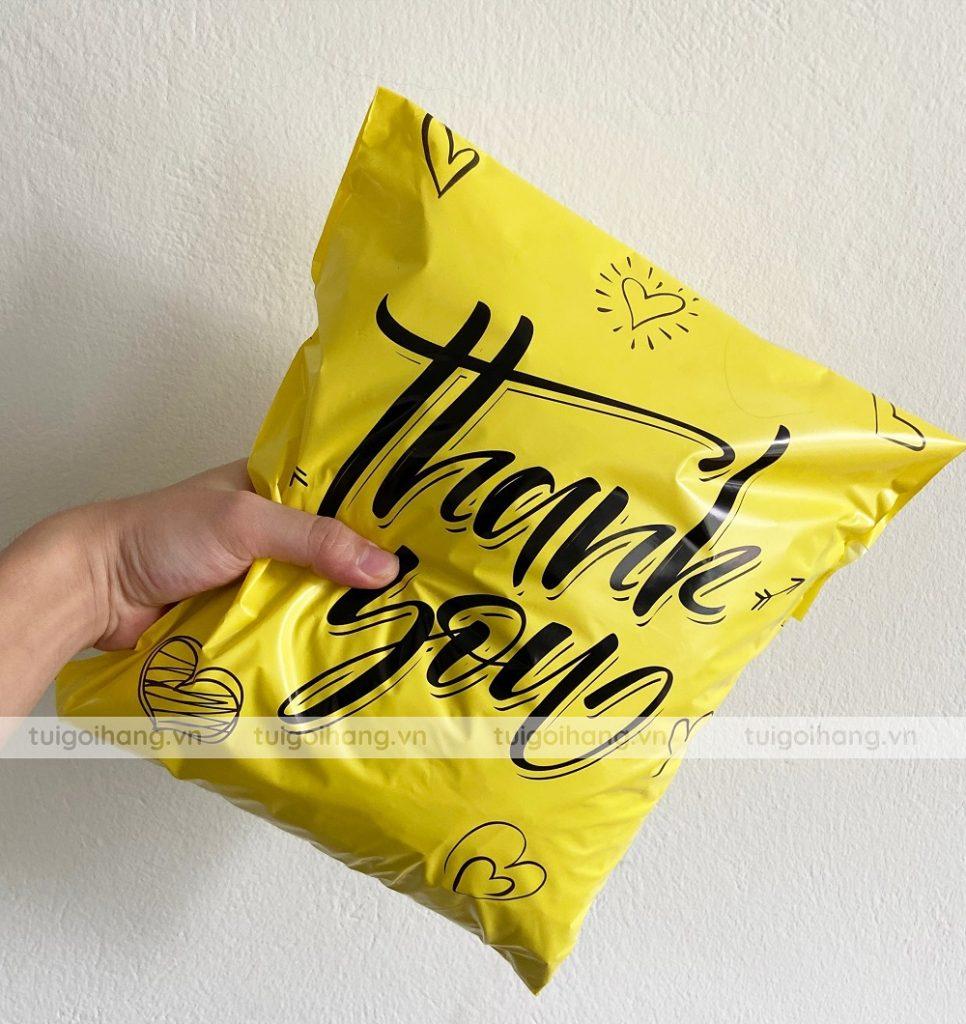 túi niêm phong vàng in thank you