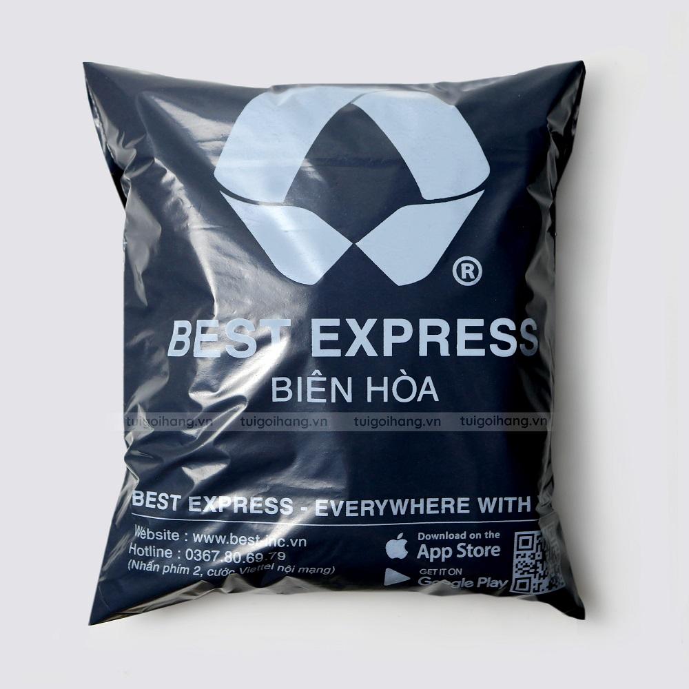 túi gói hàng đen 17x30 in logo